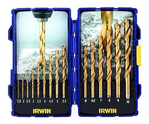Irwin IRW10503991 Juego de Brocas con Recubrimiento de Titanio (de Acero rápido, 15 Unidades)