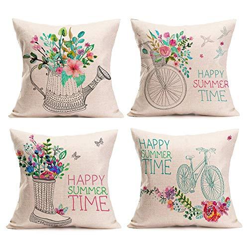 4 PC Fundas Cojines 45x45 Fossrn, Feliz horario de Verano Funda de Almohada para Sofa Jardin Cama Decorativo...
