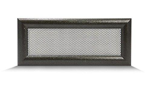 Lüftungsgitter Luftgitter Warmluftgitter Kamin Gitter – Schwarz und Gold, Halbrundprofil verschiedene Größen 10,5x25cm 17x11cm 17x17cm 17x30cm 17x40cm 17x50cm – mit oder ohne Lamellen