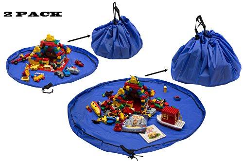 Spielzeugsack Kinder 2er Set kleiner großer Spielsack Aufräumsack Aufräummatte Aufbewahrungssack Spielmatte wasserabweisend Picknickdecke