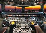 1art1 78126 Flugzeuge - Cockpitansicht Bei Sonnenuntergang Fototapete Poster-Tapete 160 x 115 cm