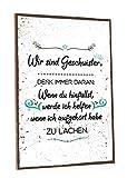 GRAVURZEILE Holzschild mit Spruch - Wir sind Geschwister - Moderne Kunstdrucke auf Holz - Wand Dekoration im Vintage-Look Kunstdruck für Familie Schwestern Freunde in Küche Home & Co
