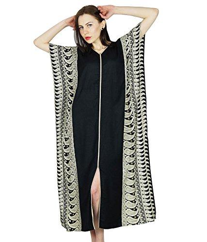 Bimba Frauen Rayon lange Kaftan schwarzen Kaftan Maxi-Kleid Coverup Top - White Print Kaftan