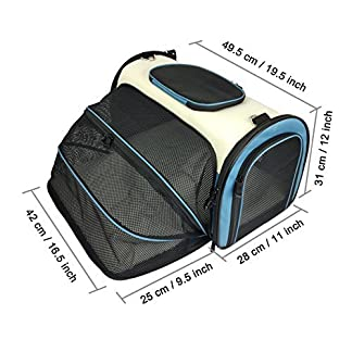 Becko Expandable Foldable Pet Carrier Travel Handbag with Padding and Extension 51yz 2Bd3iu0L