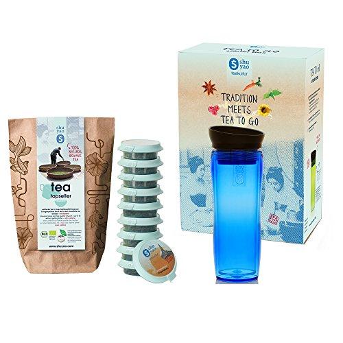 Shuyao Starter Box Tea to Go Thermobecher blau (360ml) mit Integriertem Teesieb + 10 Loser Bio Tee 30g