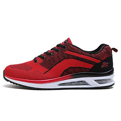 LILY999 hombres y mujeres Zapatillas de deporte Zapatos deportivos de los planos atléticas ocasionales de la malla respirable del,Negro y rojo,38 EU