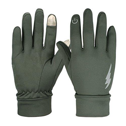 Touchscreen-Handschuhe, HiCool Touch Gloves Smartphone Handschuhe für Radfahren, Motorradfahren, Wandern und andere Outdoor-Aktivitäten (Armee Grün, L)