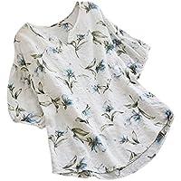 OSYARD Damen Sommer Casual Strandshirt V Neck 3/4-Arm Vintage Boho mit Floral Print Tops Loose Blouse