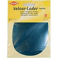 Kleiber - Rodilleras/coderas ovaladas de antelina, para coserlas, 12,5 x 10 cm, color azul agua