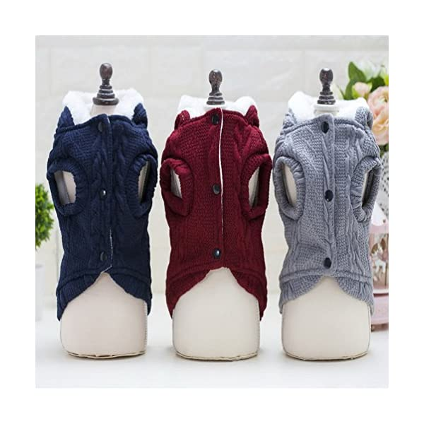 smalllee_lucky_store Knitted Dog Clothes Jumper with Hood Warm Hoodie Jacket Coat for Small Dogs 2