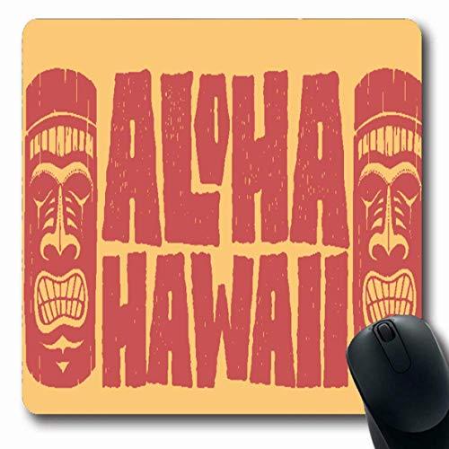 Luancrop Mousepad Oblong Hawaiian Aloha Hawaii Hand Schriftzug Tiki Maske Schablone Island Beach Board Drawn Emblem Design Büro Computer Laptop Notebook Mauspad, rutschfestem Gummi -