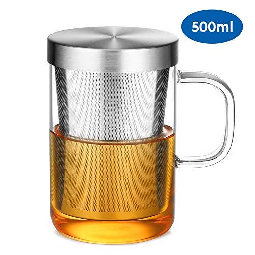 Ecooe Glas Tasse mit Edelstahl sieb und Deckel Teeglas Teebecher aus Borosilikat Teetasse 500ml (Volle Kapazität)