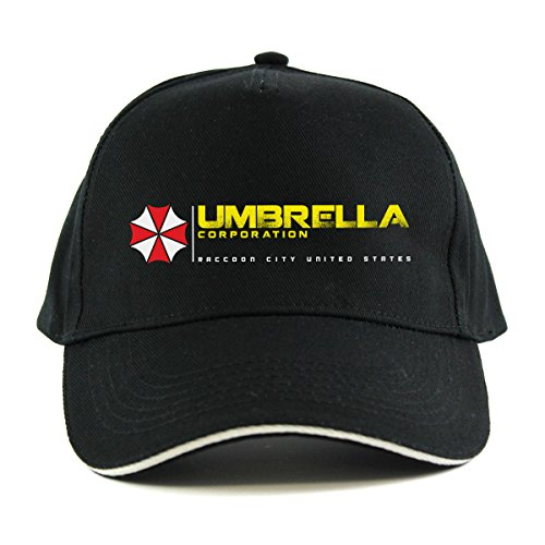 Dach Cap (Resident Evil: Dach Corporation Film Gap Gr. Einheitsgröße, Schwarz - Black Cap with grey peak edging)
