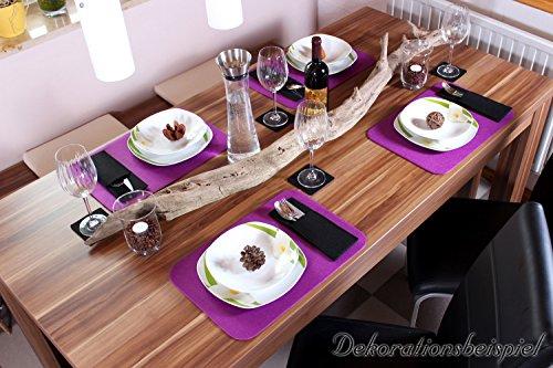 10er Set Glasuntersetzer aus Filz in dunkelgrau (und weitere Farben wählbar), Edel und elegant, 10cm quadratisch