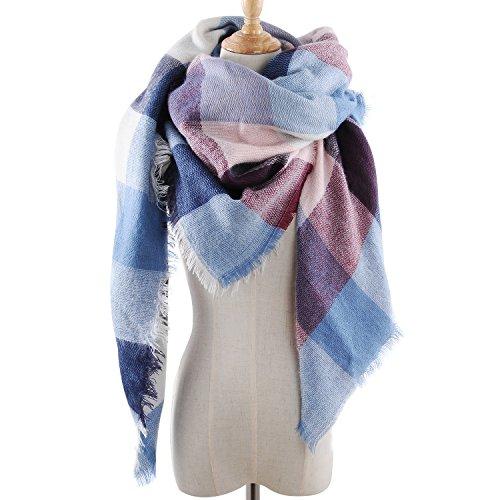 Sciarpa Sciarpa XXL Oversized rettangolare patchwork autunno inverno donna coperta Poncho sciarpa morbido caldo a quadri rosa-blu XXL