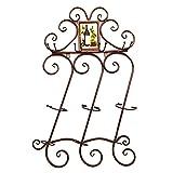 YANGMAN Weinregal, Wandmontage, mit Getränkehalter, Vintage-Stil, für Zuhause, Bar, Dekoration, Café, Weinregal, bronzefarben