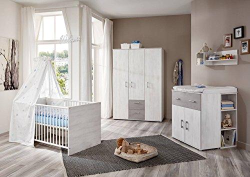 Babyzimmer Komplett-Set in Grau-Weiß, Kinderzimmer in Sand-Eiche 4 teilig ist umbaubar/mitwachsend, modernes Kinderzimmer für Jungen und Mädchen