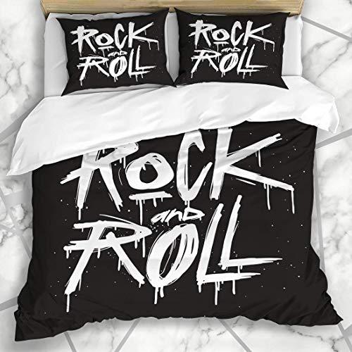 Bettwäschesätze Old Hand Draw Sketch Rock Roll Tattoo Text Classic Dolch Doodle Design Mikrofaser Bettwäsche mit 2 Pillow Shams (Eisen-dolch)