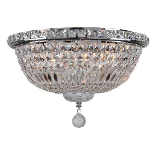 Worldwide Lighting W33008C16 Empire 6 Light with Clear Crystal Flush Mount Ceiling Light, Medium, Chrome by Worldwide Lighting - 6 Light Flush Mount Crystal