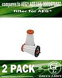 Pack de 2 Filtros de recambio para aspiradoras AEG Rapido y Ergorapido. Reemplaza a AEG AEF 144....