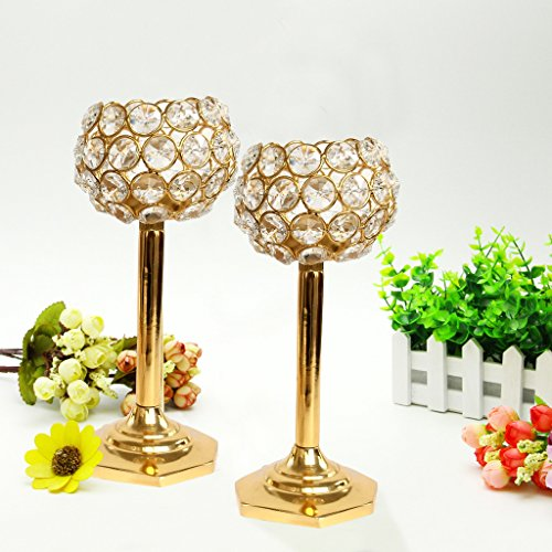 TiedRibbons® Crystal Tealight Holder Set Pack Of 2(Glass, Multicolor)