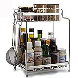 Küchenregale WSSF 304 Edelstahl Küche Gewürz Wand Hanging Küche Supplies Storage Rack(28,5 * 20,5 * 38,5cm)