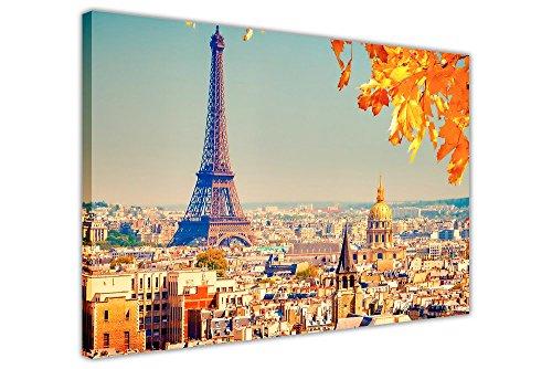SUNSHINE SKYLINE PARIS EIFFELTURM FRANKREICH LA TOUR EIFFEL KUNSTDRUCK AUF LEINWAND GERAHMT CITY MODERN ART Modern 09- A0 - 40
