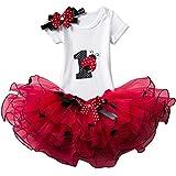 NNJXD Mädchen Newborn 1. Geburtstag 3 Stück Outfits Strampler + Tutu Kleid + Stirnband Größe (1) 1 Jahre Rot