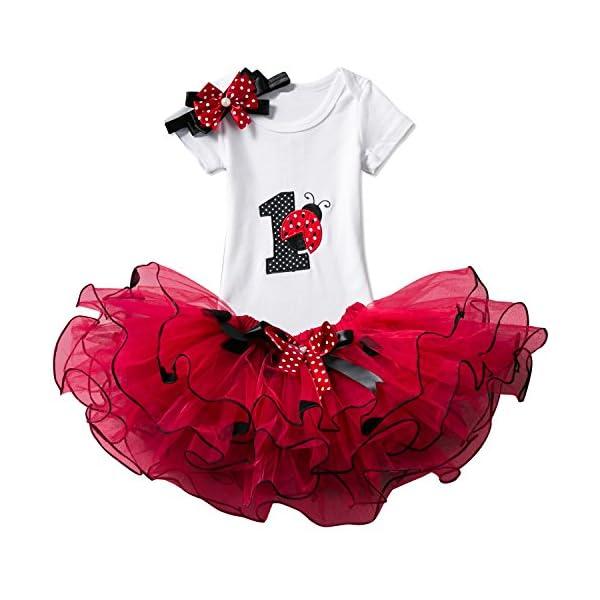 TTYAOVO Bebé Niña 1er cumpleaños 3pcs Conjuntos con Diadema de Unicornio y Mameluco y Faldas 1