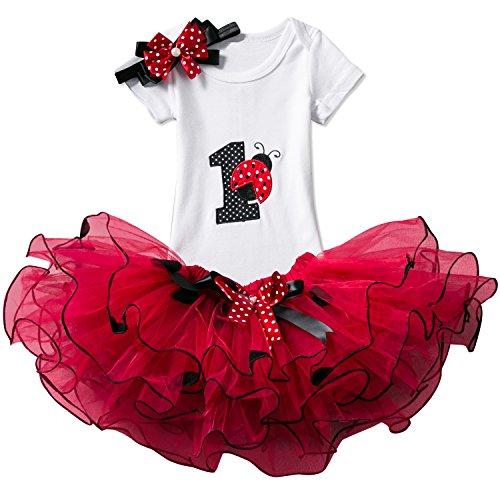NNJXD Mädchen Newborn 1. Geburtstag 3 Stück Outfits Strampler + Tutu Kleid + Stirnband Größe (1) 1 Jahre Rot (3 Stück-rock-outfit)