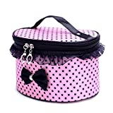 #9: House Of Quirk Polka Dot Women Multifunction Travel Cosmetic Bag With Mirror Makeup Case Pouch Toiletry Organizer Handle Large Cosmetic Bag