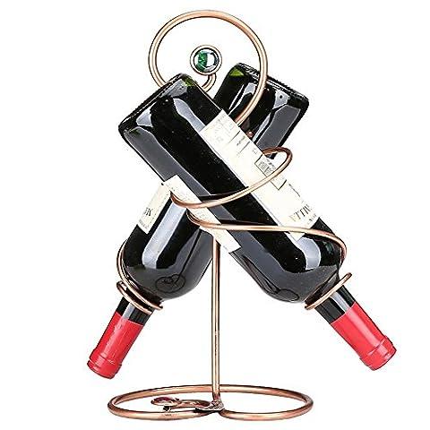 XY&XH European simple retro iron double bottle of wine rack ornaments, size: length 21cm width 21cm high