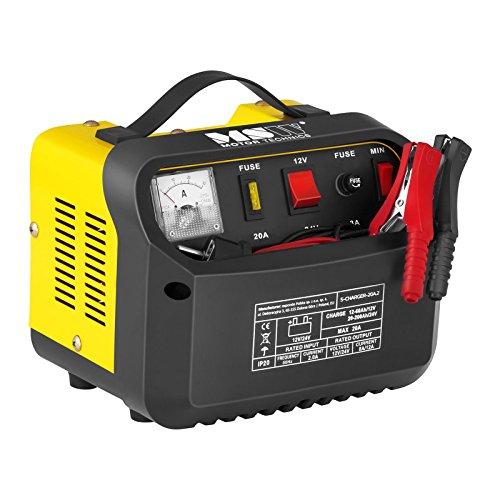 MSW S-CHARGER-20A.2 Caricabatterie per Auto Professionale Mantenitore di Carica (12/24V, A 12-200 Ah, Display analogico, 230 V, 0,5 kW, per batterie al Piombo Acido, Grigio)