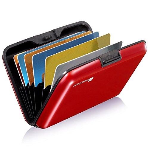 GreatShield RFID NFC Blocker Cardguard[Aluminium] Kreditkarten/Visitenkarten/Ausweis EC/Bank-Karte[Halter|Hülle|Etui|Brieftasche|Kartenbörse|Wallet|Card Holder|Case][8 Karten] Damen/Herren -Rot (Portemonnaies Leichte Damen)