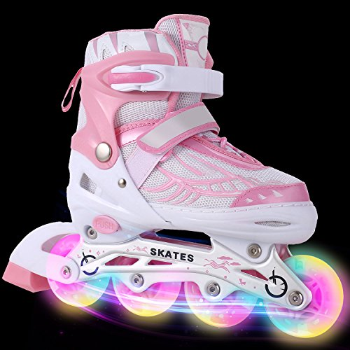 AMdirect Neue stilvolle atmungsaktive Mesh-Inline-Skates volle Beleuchtung Räder einstellbare Größen Dreifachschutz Roller Skates für Erwachsene / Kinder Jungen Mädchen (Rosa, 39-42) Mädchen Einstellbare Rollschuhe