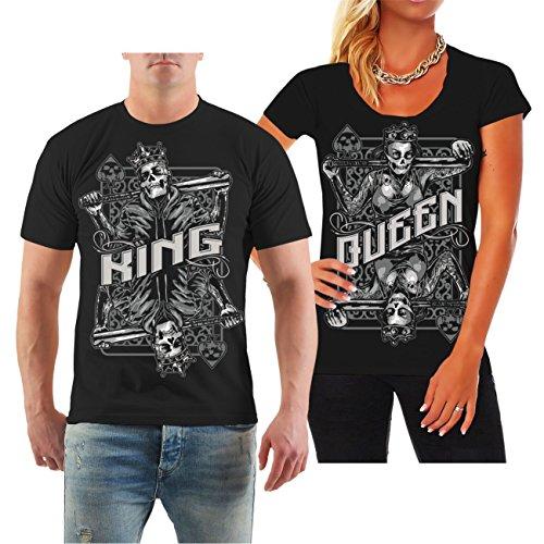 Partnershirt King & Queen Herzschmerz 2018 (mit Rückendruck) Größe S - 8XL (Lifestyle-queen)