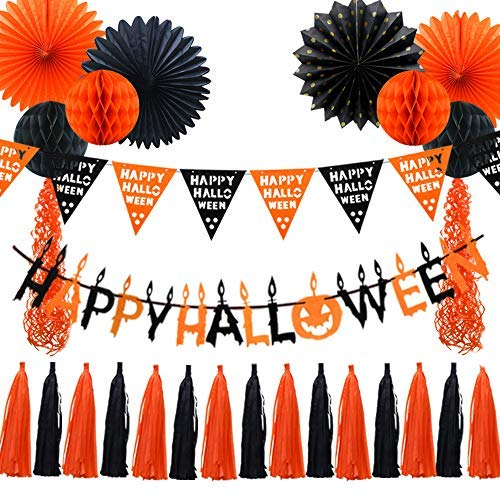 Halloween schwarz orange Party Dekorationen,