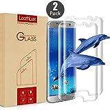 [2 Pack] Protecteur écran Vitre Galaxy S7 Edge , LeathLux [3D Couverture complète] Protecteur d'écran en verre trempé S7 Edge de [9H Dureté] Film Protection écran en Verre Trempé pour Samsung Galaxy S7 edge 5.5 Pouces , Transparente
