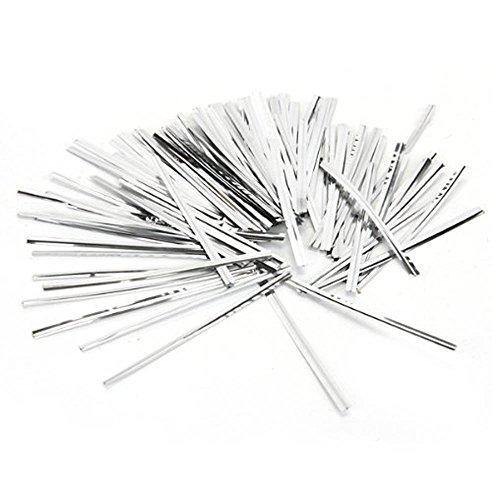EDGEAM 800Pcs 10cm Recubierto Plástico Lazo Torcedura Alambre Metal Para Sellar Hornear Pan Paquetes Caramelos Alambre (Plata)