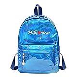 Mini Reisetaschen Silber Blau Rosa Rucksack Frauen Mädchen Tasche PU Leder Holographische Rucksack Schultaschen Für Mädchen Im Teenageralter Blue 1