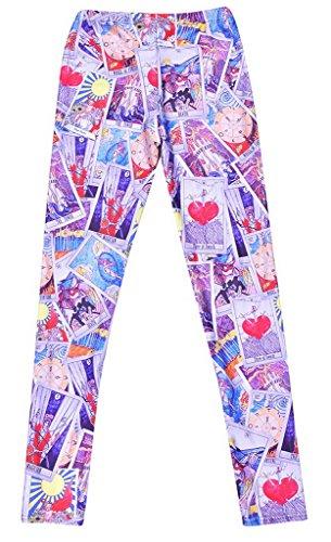 Smile YKK Legging Minceur Femme Sexy Collant Fantaisie Pantalon Slime Elastique Imprimé Dessin Animé