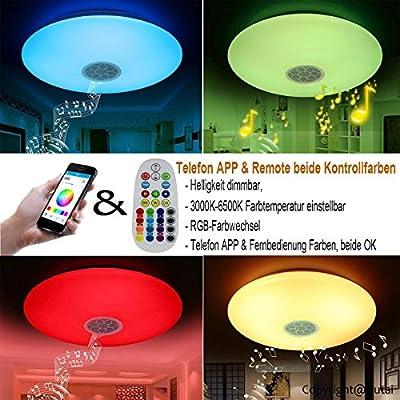 autai LED Deckenleuchte mit Bluetooth Lautsprecher Musik Sync ...