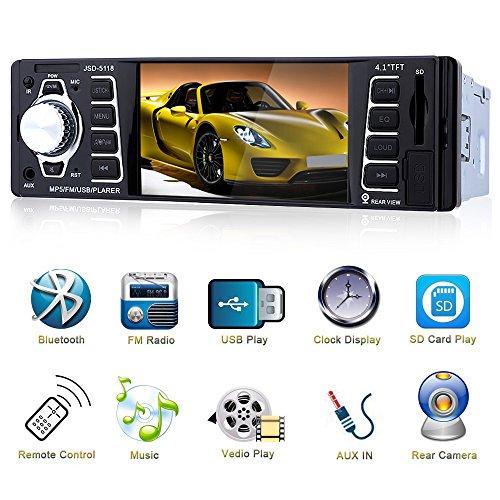 Bluetooth Autoradio 4.1 '' HD,MP3 MP4 MP5 con Ingresso Telecamera Posteriore,Auto Audio Stereo Video FM Radio USB/TF/AUX Ingresso con Telecomando