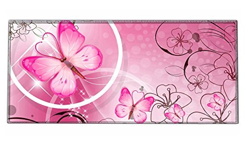 iKammo Galaxy High Grade Non-slip Rubber Base Sticthed Edge Gaming Mouse Pad - Designed to fit Computer Desk Stationery Accessories 35 x15.55 x0.07 Pink Butterfly