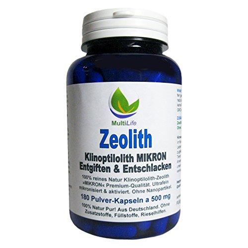 MultiLife Zeolith Klinoptilolith MIKRON 180 Pulver Kapseln a 500 mg #26147 | Ohne Nanopartikel, ultrafein mikronisiert & aktiviert. 100% Natur Pur. Aus Deutschland - OHNE Zusatzstoffe! -