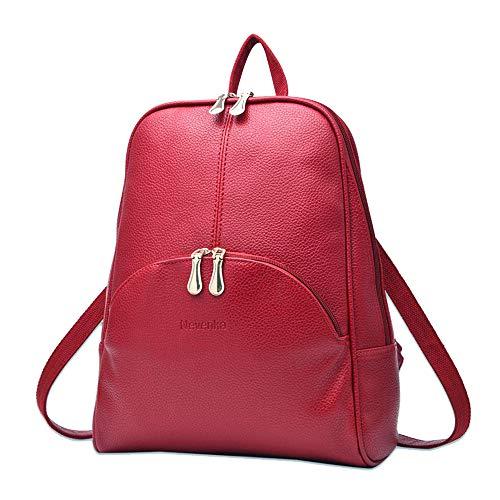 Nevenka Rucksack Damen, Cityrucksack Daypack Tagesrucksack PU Leder Zweiwege Reißverschluss Elegantes Design (Rot)