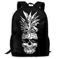 Deglogse School Backpack, Schoolbag Travel Bookbag, Pineapple Skull with Cool Sunglasses Unique Outdoor Shoulders Bag Fabric Backpack Multipurpose Daypacks for Adult Kids