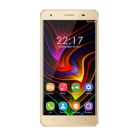 """OUKITEL C5 - 5,0"""" 3G Smartphone, Android 7.0 Quad Core 2Go+16Go, Deux Caméras 5.0MP+8.0MP, Double Carte SIM, Anti-Smash Armature en Métal, Téléphones Portables Débloqués, Or"""