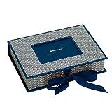 Semikolon (354861) Kleine Fotobox mit Einschubfenster Seigaiha-Muster marine (blau) | Sammelbox und Aufbewahrungsbox für Bilder| 20,7 x 15,3 x 4,7 cm