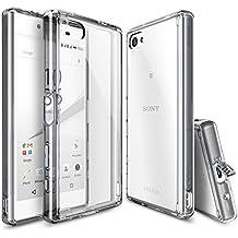 Funda Xperia Z5 Compact, Ringke FUSION Choque Absorción Funda de parachoques y Protección gota [GRATIS Protector de pantalla][SMOKE BLACK] Prima Clear Back duro para Sony Xperia Z5 Compact